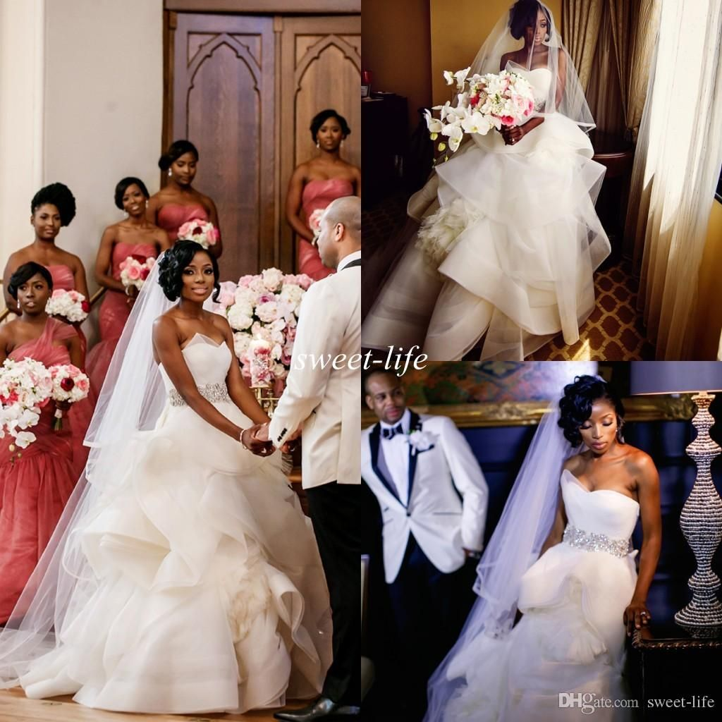 2016 nigerian wedding dresses ball gown strapless princess fluffy 2016 nigerian wedding dresses ball gown strapless princess fluffy tulle crystal sash backless custom made luxury church spring wedding gowns ombrellifo Choice Image