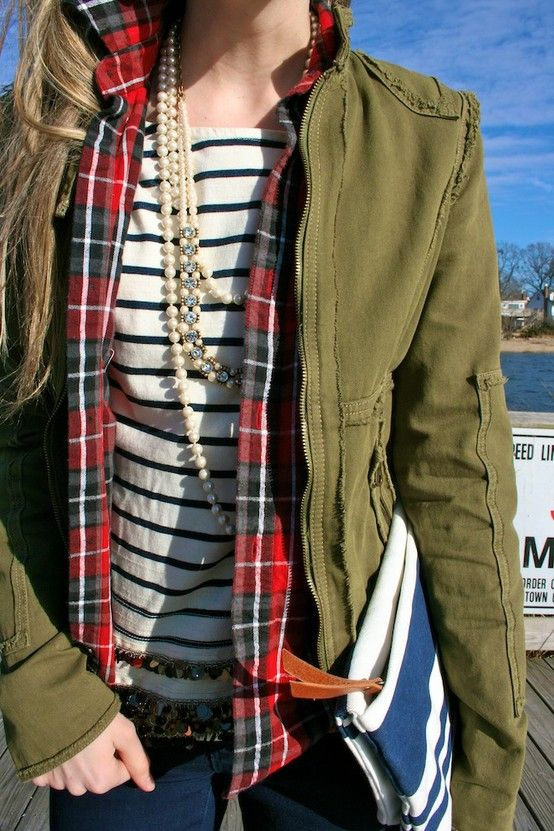 Army green jacket, plaid, stripes, & pearls. Masculine & feminine combined.