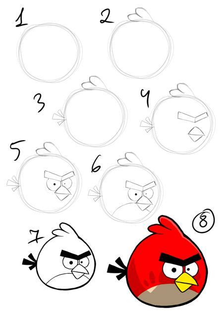How to draw angry bird step by step instruction