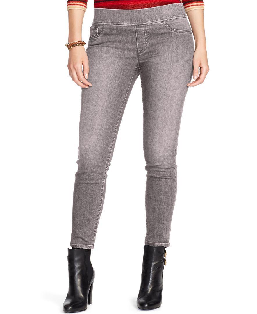 Lauren Ralph Lauren Plus Size Stretch Denim Leggings, Gray Wash ...