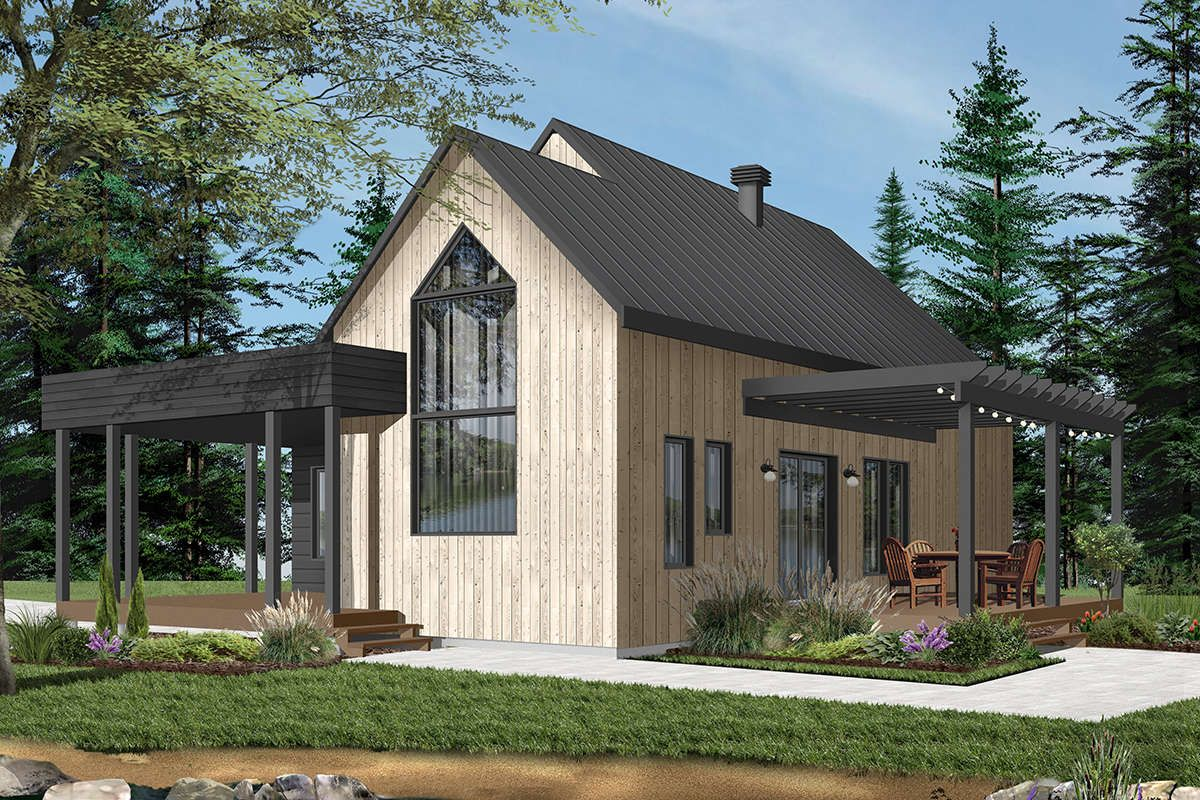 House Plan 034 01205 Contemporary Plan 1 200 Square Feet 2 Bedrooms 1 Bathroom In 2021 Modern Style House Plans Contemporary House Plans Cottage Plan