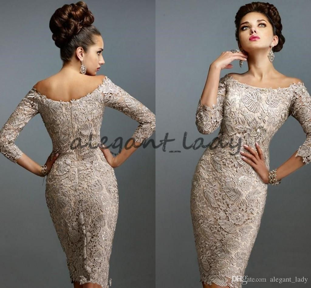 2018 crochet lace Mother Off Bride Dresses Scoop Full Lace 3/4 Long ...