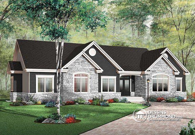 W3224 - Plain-pied américain confortable de 3 à 4 chambres avec - plan maison demi sous sol