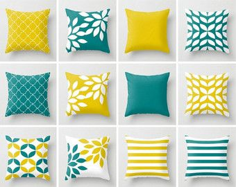 Throw Pillow Covers Mustard Yellow Teal White Accent Cover Couch Cushion Home Decor Living Room Geometric Very Fun And