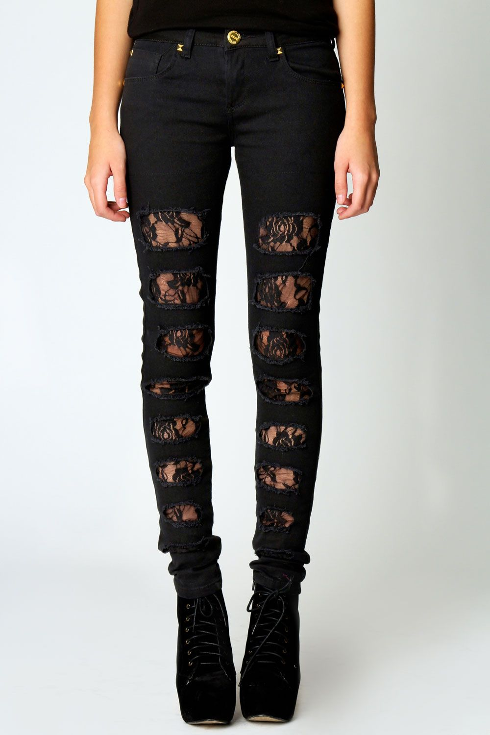 Lace insert skinny ripped jeans