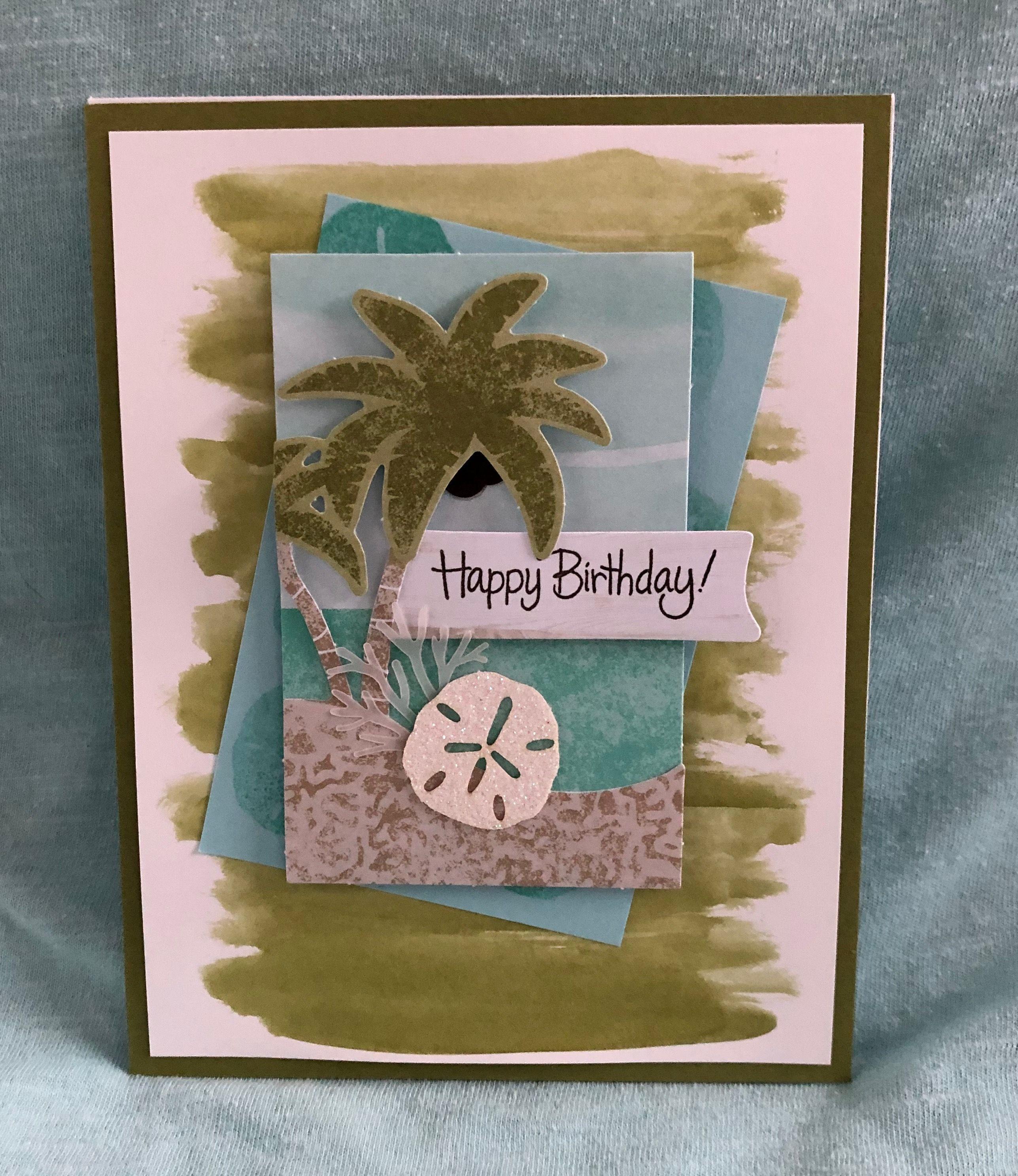 Birthday Card Beach Card Handmade Card Handmade Card Stamped