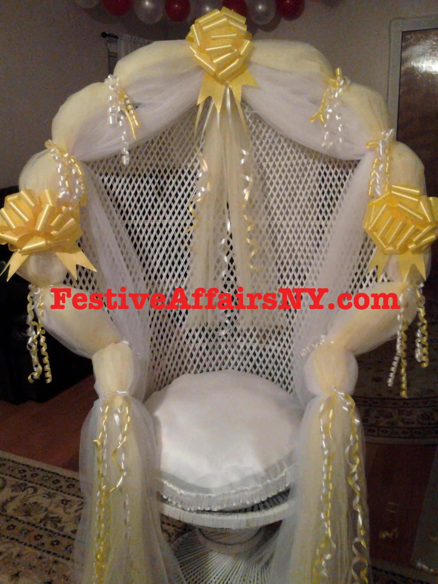 Baby Shower Chair Yellow Festive Affairs Ny Baby Shower
