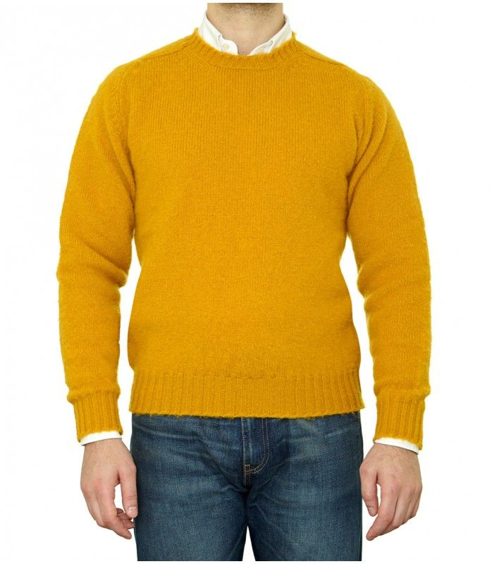 Mustard Yellow Brushed Shetland Wool Crew Neck Sweater | Knitwear ...