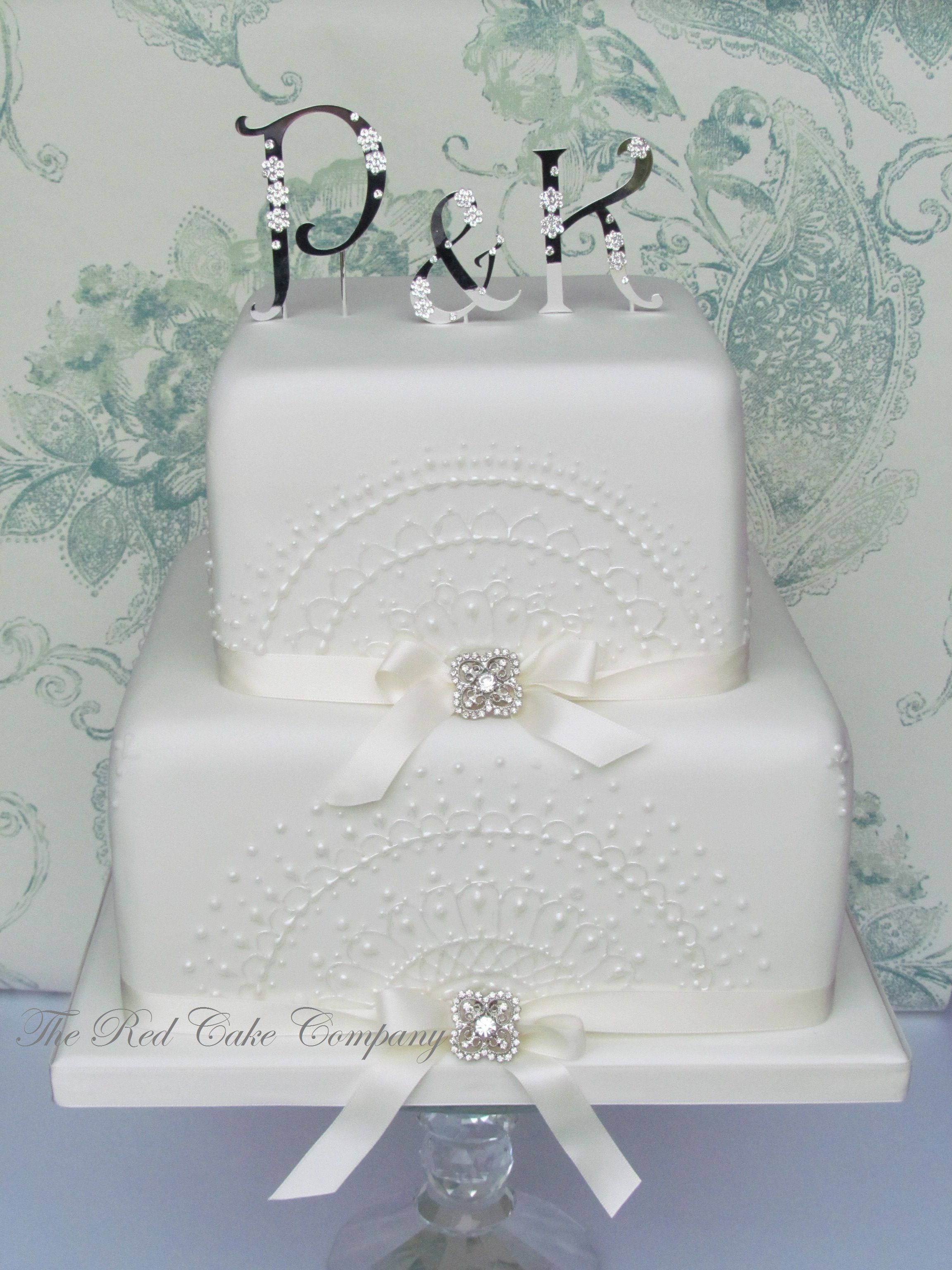 Lace 2 Tier Square Cake Redcakecompany | My Fairy Tale ...
