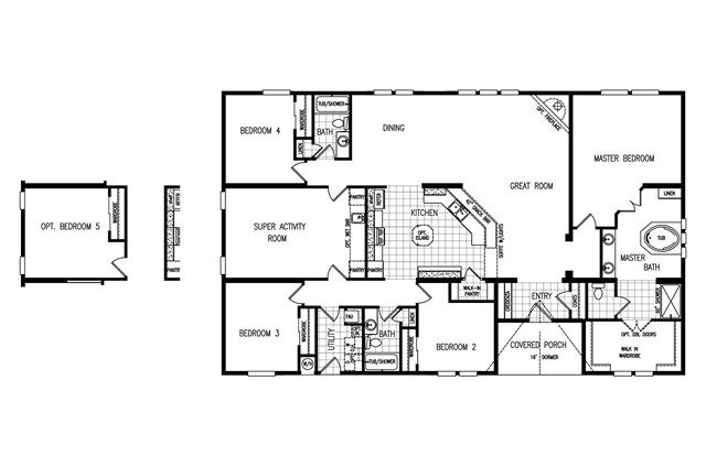 4 Bedroom Modular Homes Floor Plans Clayton The Gotham 4 Bedroom 3 Bath Triplewide 91hat41664a Mobile Home Floor Plans House Floor Plans Modular Home Plans