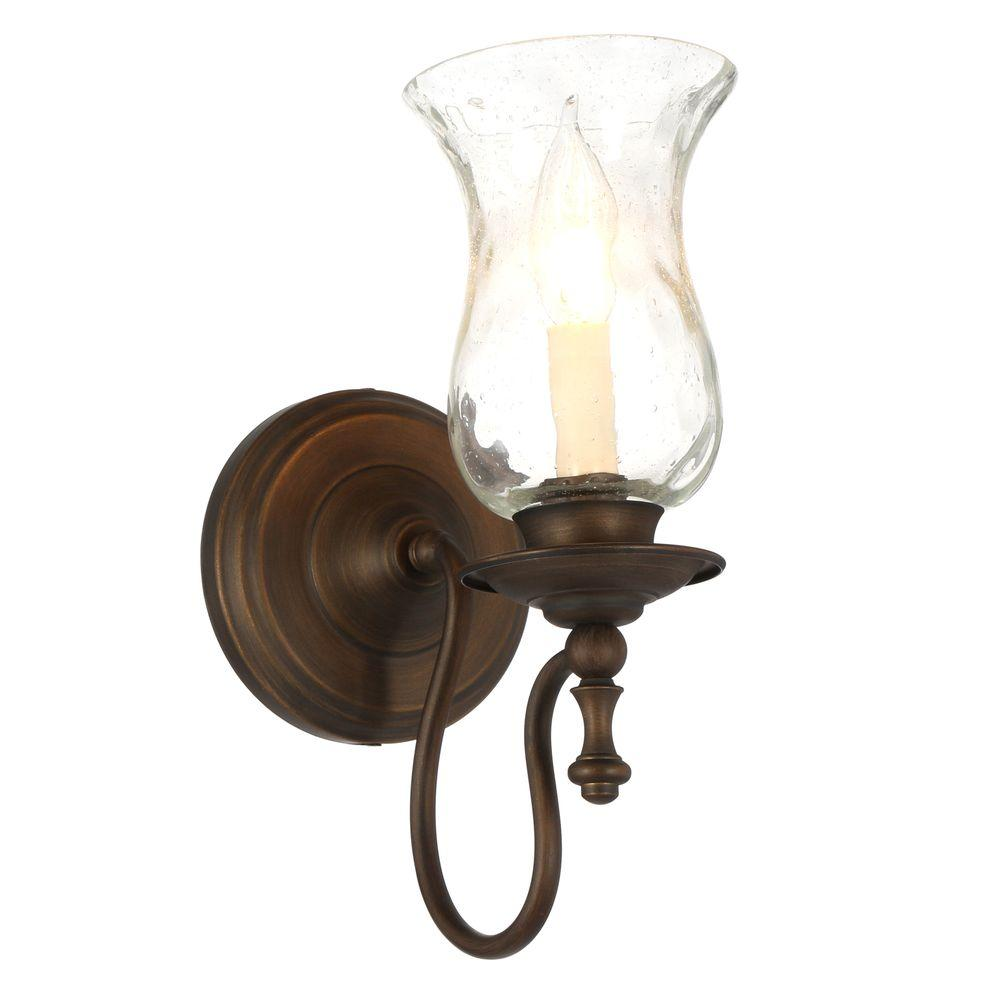 Hampton Bay Grace 1 Light Rubbed Bronze Sconce With Seeded Glass Shade 14691 The Home Depot Bronze Wall Sconce Bronze Sconces Sconces