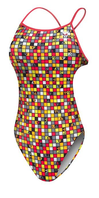 Womens Tyr Check Thin X Fit Swimsuit Competition Suits Swimwear