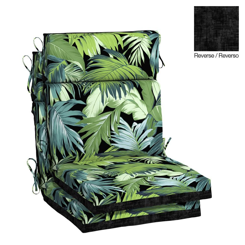 Hampton Bay 21 5 X 20 Black Tropicalia High Back Outdoor Dining Chair Cushion 2 Pack Th0s216a D9d2 The Home Depot Outdoor Dining Chair Cushions Dining Chair Cushions Hampton Bay