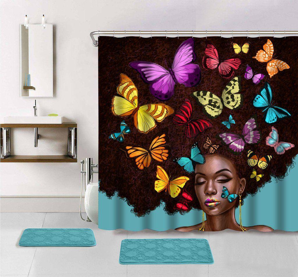 Butterfly Hair Shower Curtain