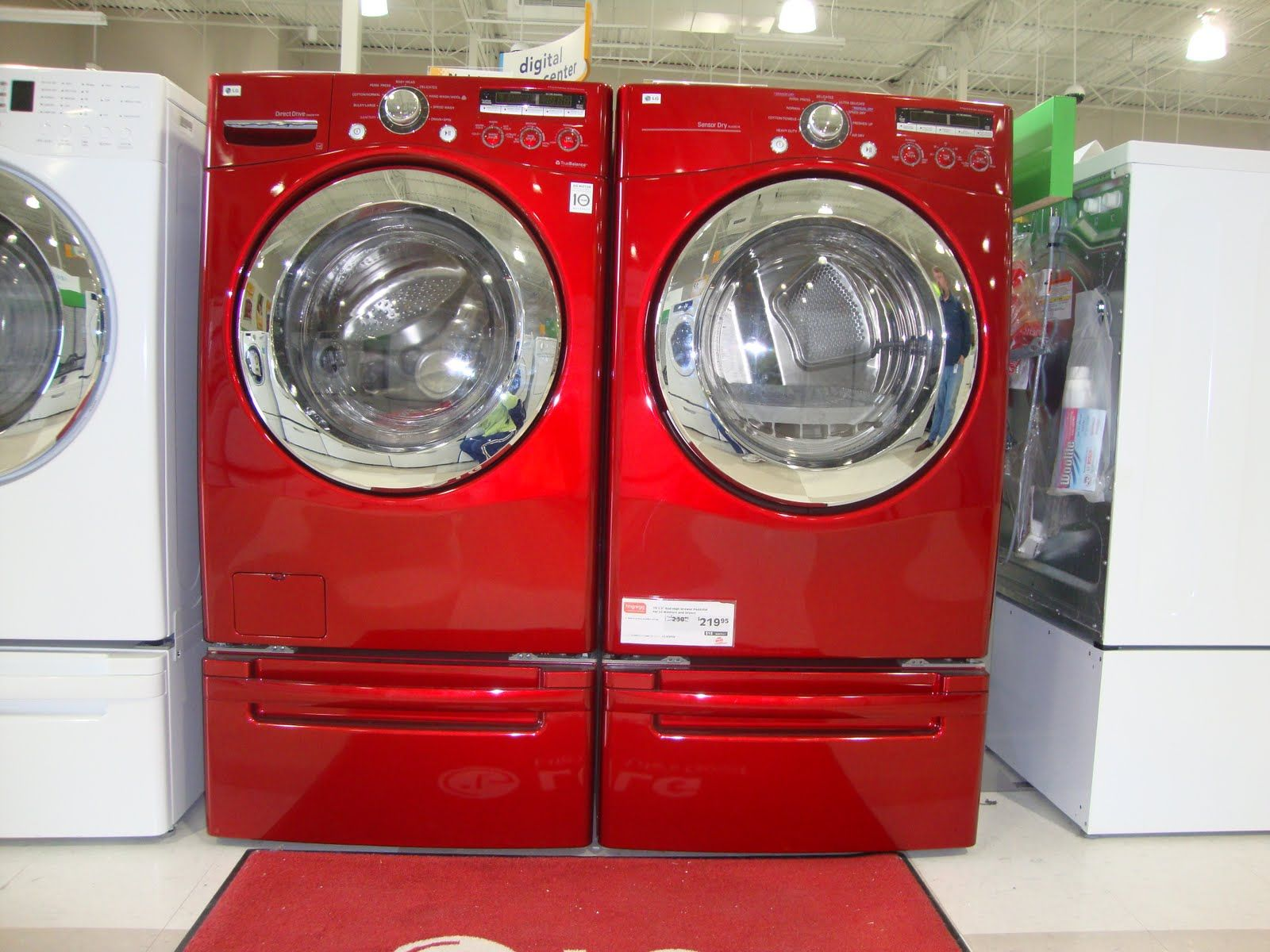 Colored Kitchen And Laundry Appliances Laundry Room Storage Shelves Red Washer And Dryer Laundry Room Storage