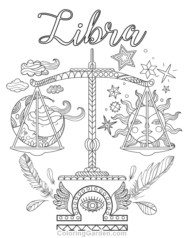 Free printable Libra adult coloring page. Download it in PDF format ...