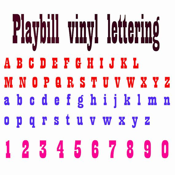 Playbill vinyl font lettering decals custom made name 1.5 inch decal weather resistant jeeps, cars, truck, carts, mailboxes