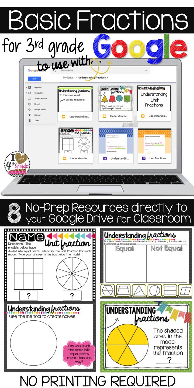 3rd Grade Fractions For Google Classroom Distance Learning Google Classroom Google Classroom Math 3rd Grade Fractions