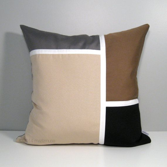 Modern Outdoor Pillow Cover Brown Grey Color Block