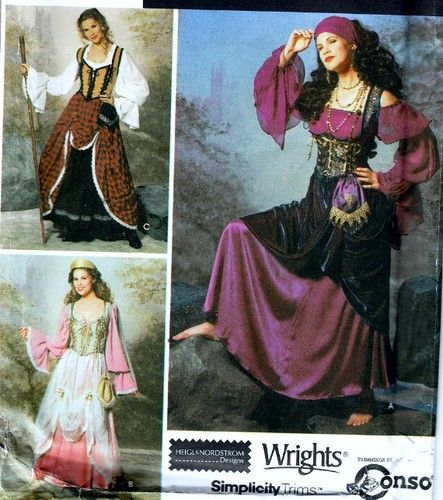Simplicity Costume Pattern 9966 Sexy Gypsy Medieval Wench Corset