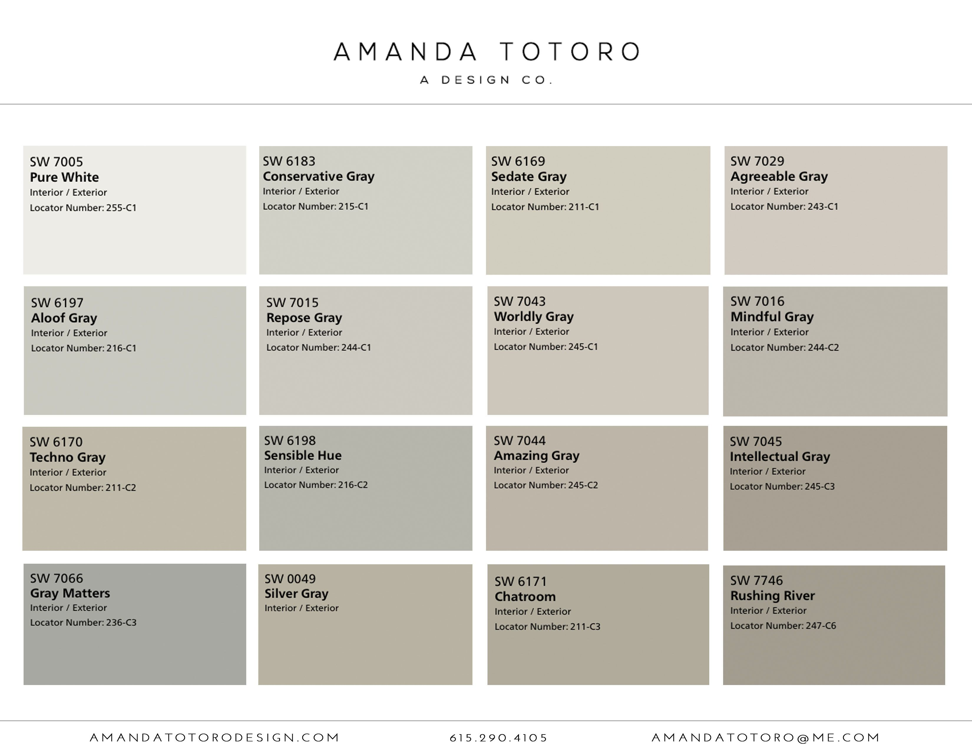 Sherwin Williams Neutral paint color selections