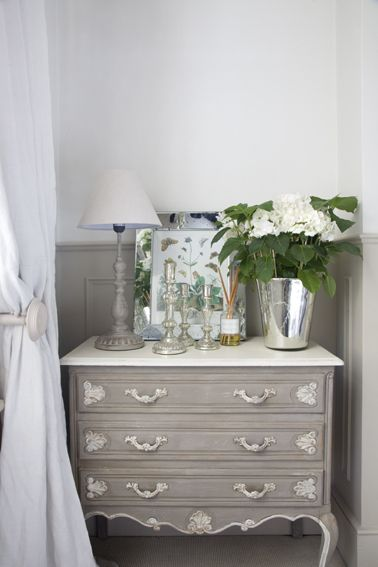 French Chest, White Hydrangea. Home of Leopoldina Haynes - photographed for the August 2012 issue of Homes & Gardens UK, all photos by Katarina Malmstrom Brown
