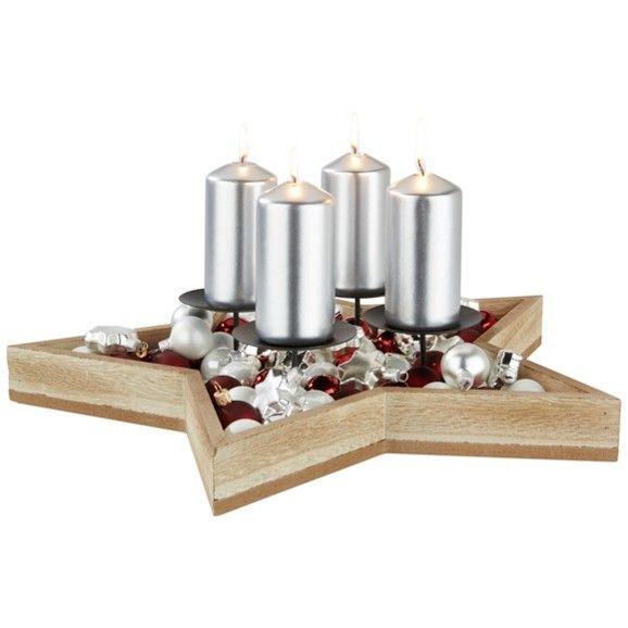 Kerzenteller aus Holz in Sternform - für weihnachtliches Ambiente