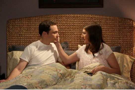 After more than five years of dating, Sheldon (Jim Parsons) and Amy (Mayim Bialik) spend their first night together, on The Big Bang Theory mid-season finale.