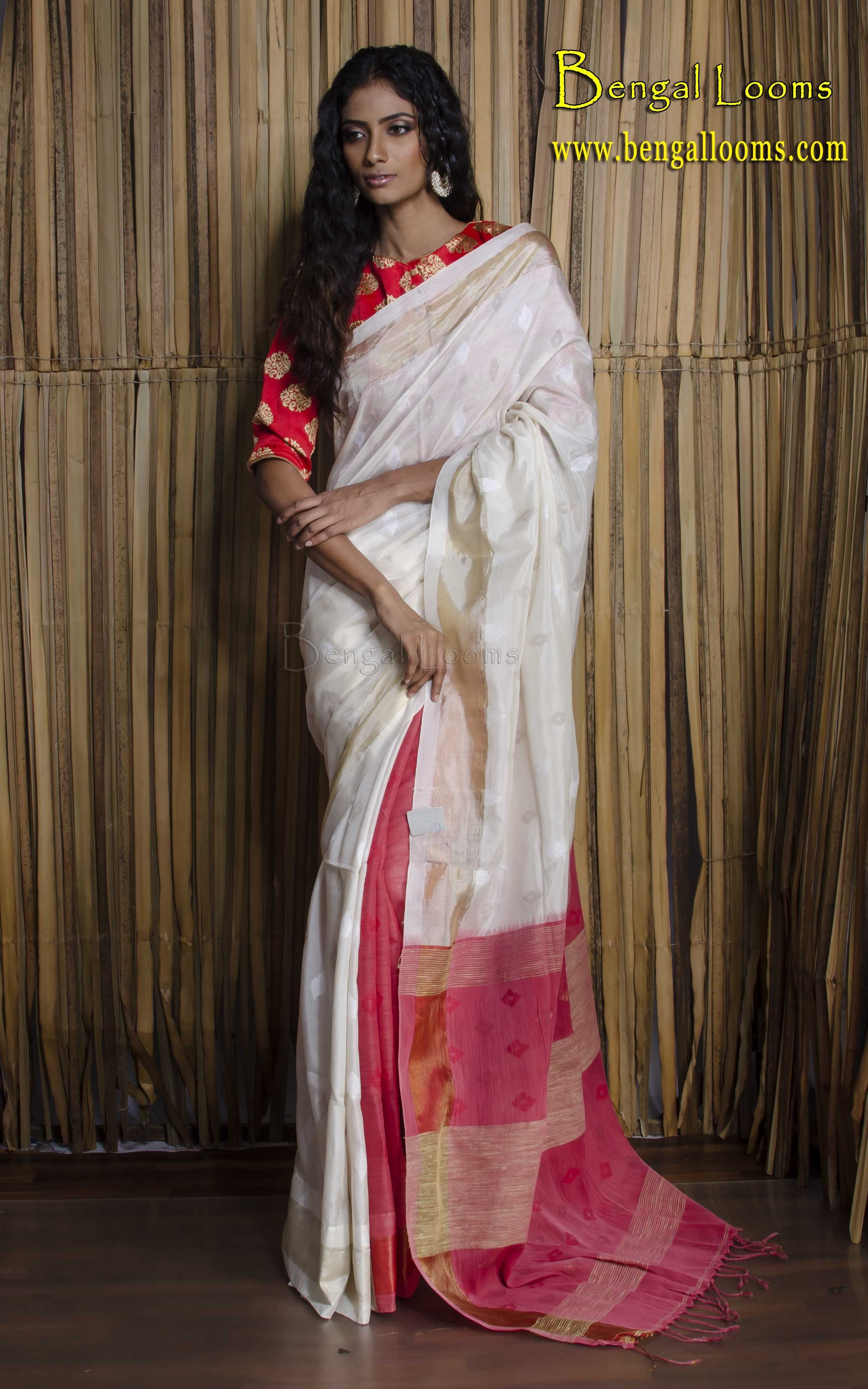 500c17278061c7 Pure Patli Pallu Khadi Silk Saree in Off White and Red - not crazy about  the blouse
