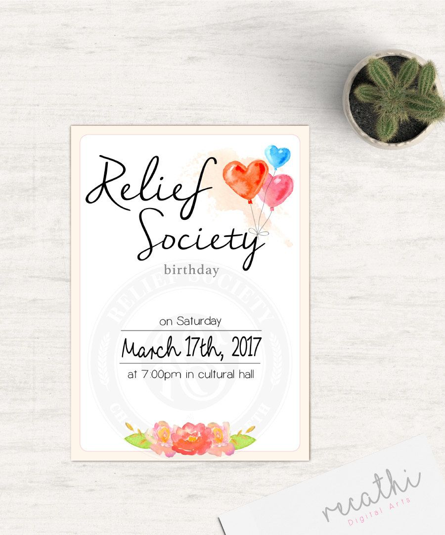 Relief Society Invitation Editable Pdf Lds Relief Society Instant