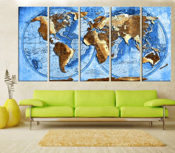 Extra large canvas art abstract world map wall art print modern extra large canvas art abstract world map wall art print modern wall decoration gumiabroncs Gallery