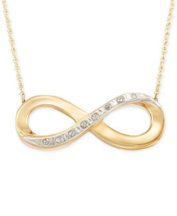Signature Diamonds Infinity Pendant Necklace in 14k Gold over