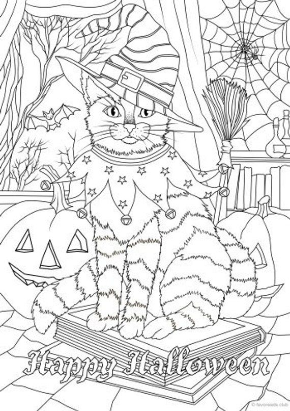 Halloween Cat - Printable Adult Coloring Page from Favoreads (Coloring book pages for adults and kids, Coloring sheets, Coloring designs)