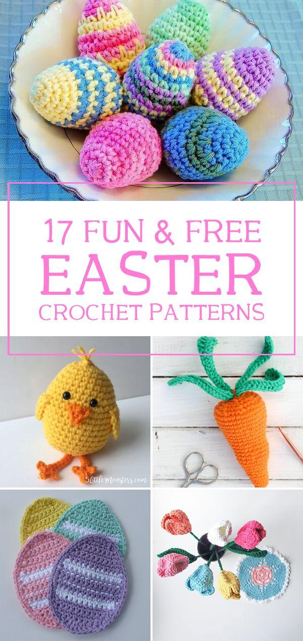 17 Fun & Free Easter Crochet Patterns #eastercrochetpatterns
