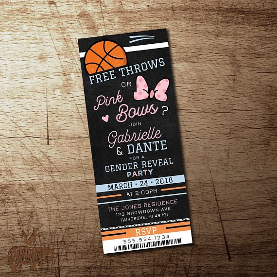 Basketball Gender Reveal Invitation Free Throws Or Pink Bows