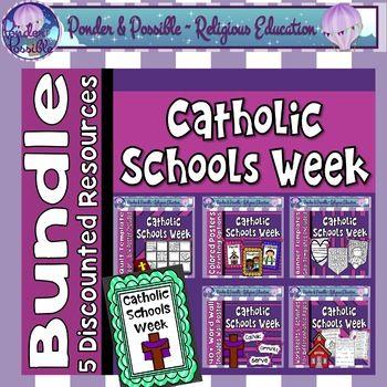 Catholic Schools Week Bundle Volume 1 5 Discounted Resources In 2020 Catholic Schools Week School Week Catholic School