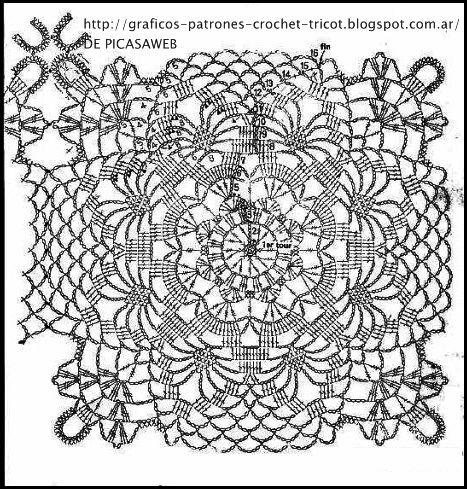 Crochet ganchillo patrones graficos cubrecamas de - Patrones tapetes ganchillo ...