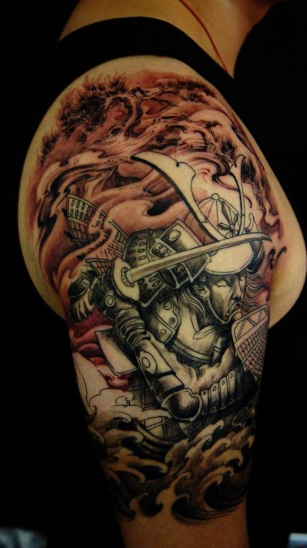best samurai tattoo designs   Samurai Lotus Half Sleeve ...