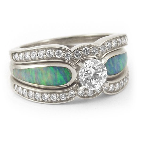 Radiant Diamond And Australian Crystal Opal Engagement