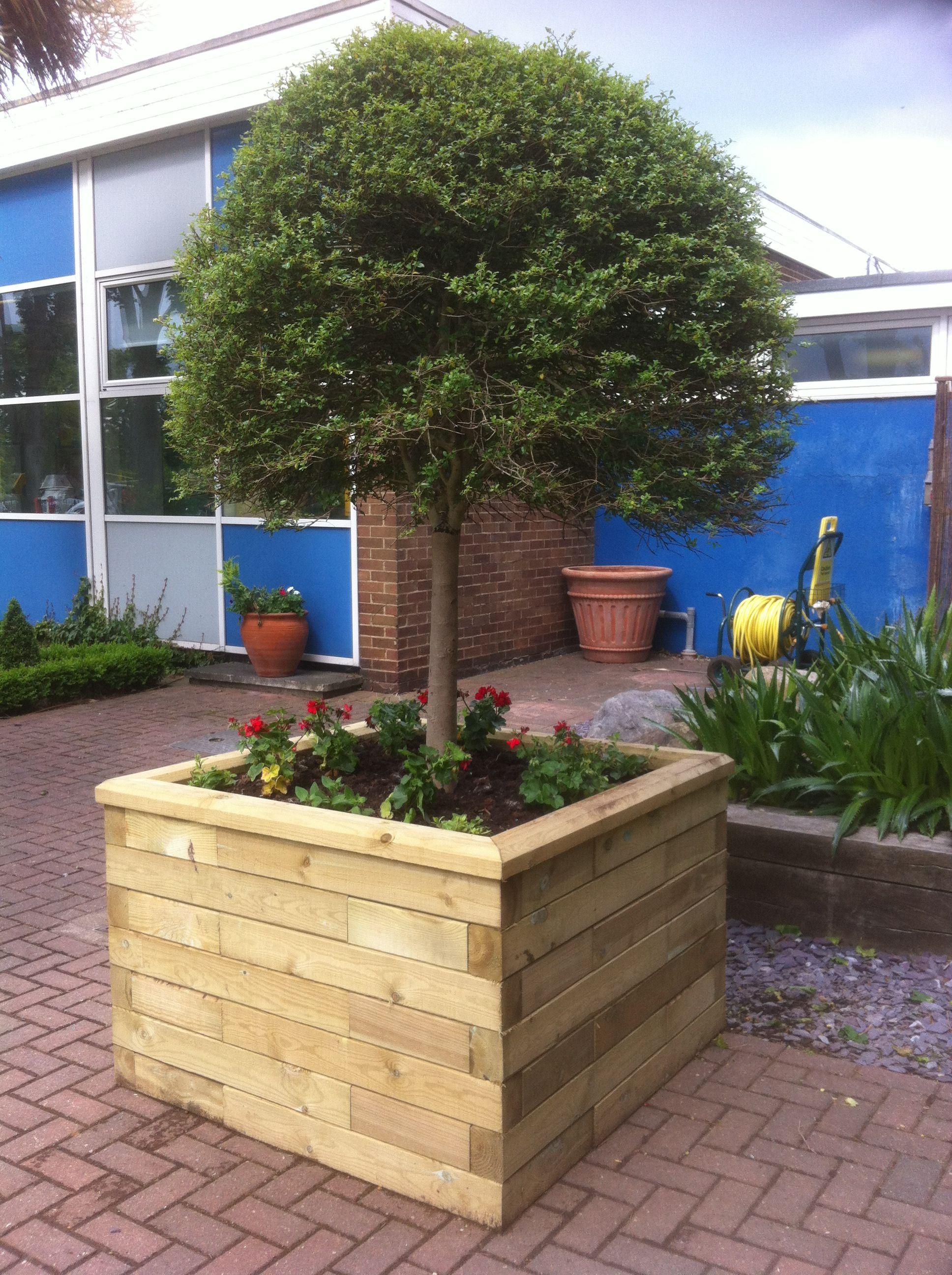 WoodBlocX tree planter Garden retaining wall, Raised