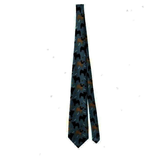 TieCute Black and Tan Pugs Pattern Neck Tie Musician Music Notes Tie Adult Unisex Pale Blue Tricolor Rough Collie Cartoon Tie Adult Unisex Pale Blue  Dark Golden Rod Wild...