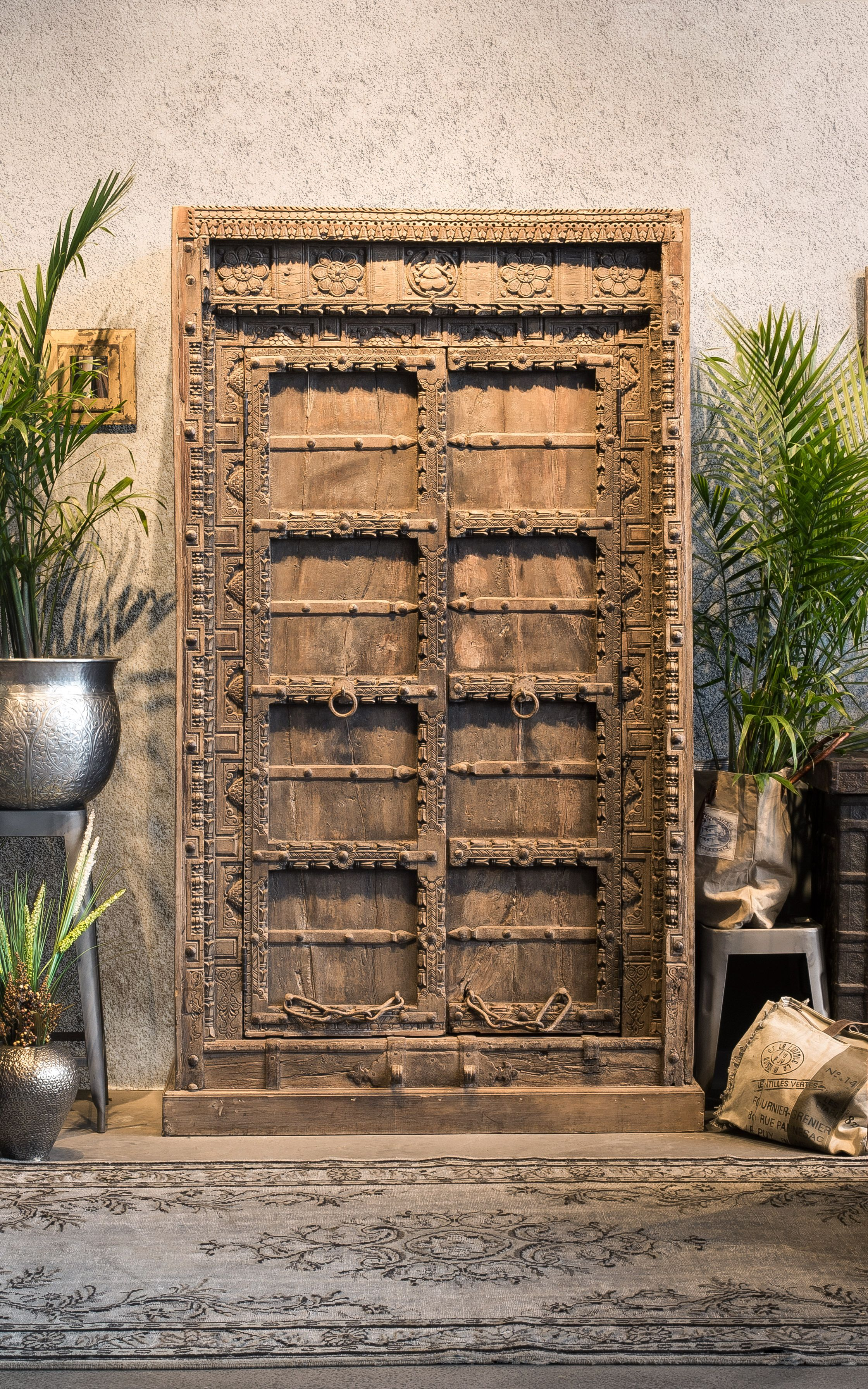 300 Year Old Antique Door Armoire From India With