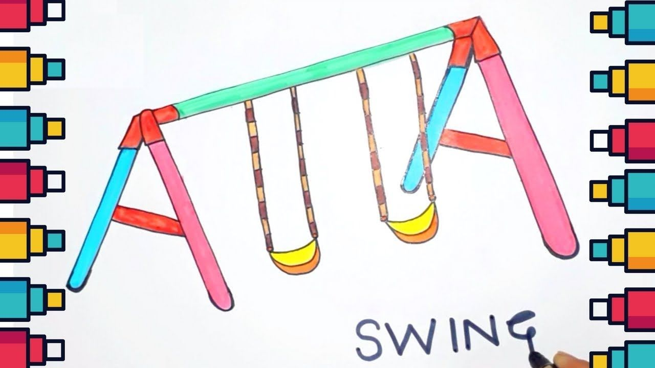 How To Draw Swing Set Step By Step Easy For Kids Kids