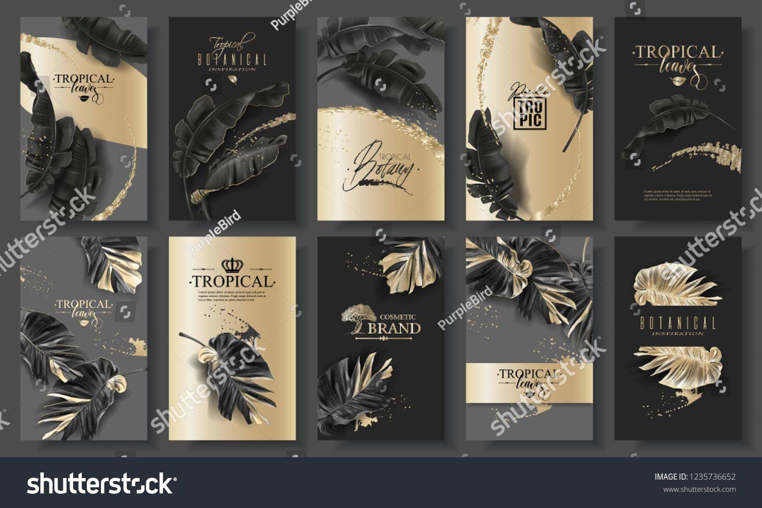 Vector huge banner set with tropical black leaves and gold