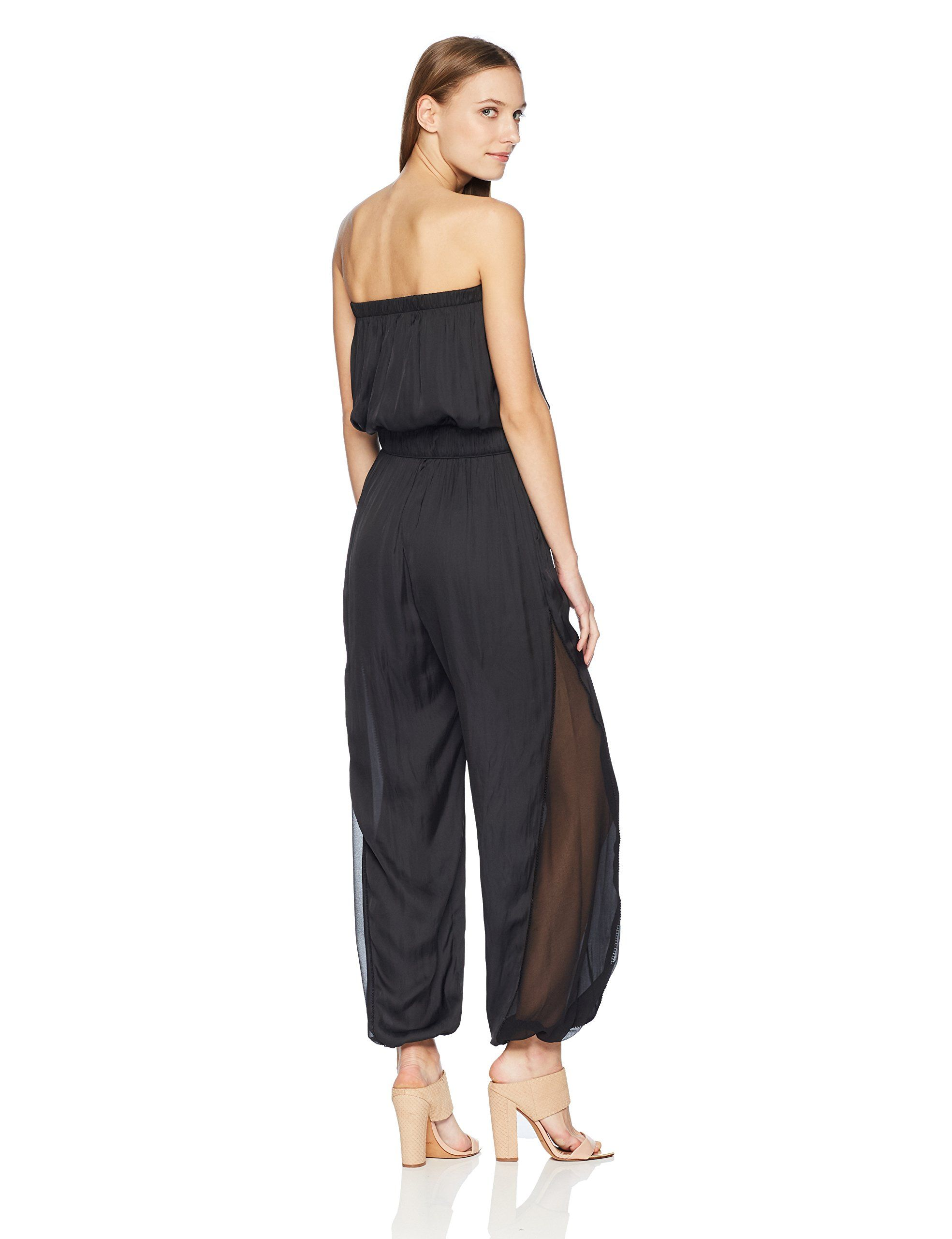 b675c4172a6 Halston Heritage Womens Strapless Ruched Jumpsuit Black Extra Large   Learn  much more by seeing the