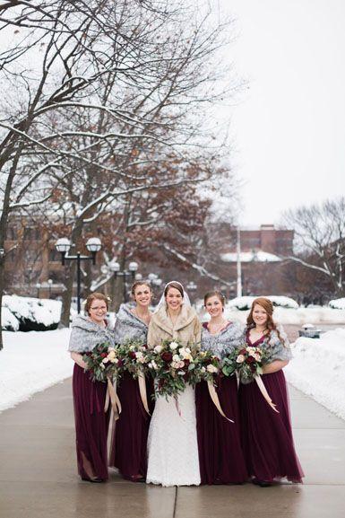 Michigan Winter Wedding Bridal Party In Blush And Burgundy