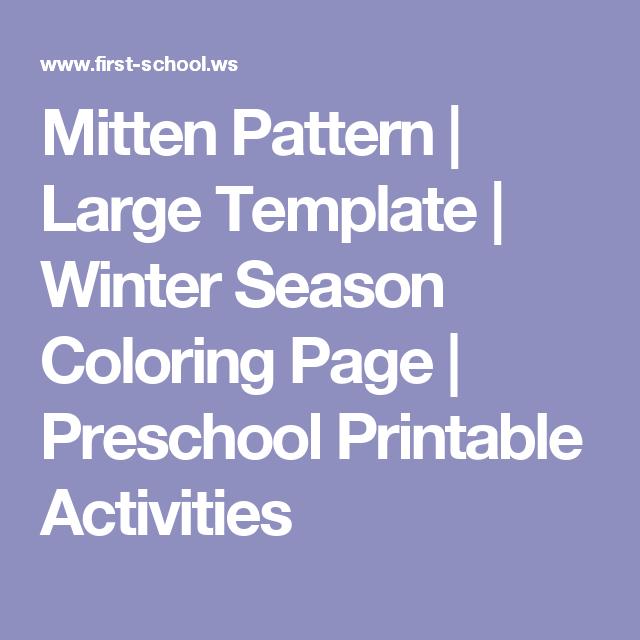 Mitten Pattern | Large Template | Winter Season Coloring Page ...