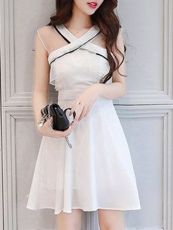 Bow A-line Chiffon Halter Girly Frill Sleeve Cute Dress in 2019 ... f79ffe301