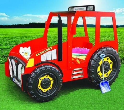Kinderbett selber bauen traktor  Kinderbett im Aussehen eines roten Traktors. | rote Autobetten ...