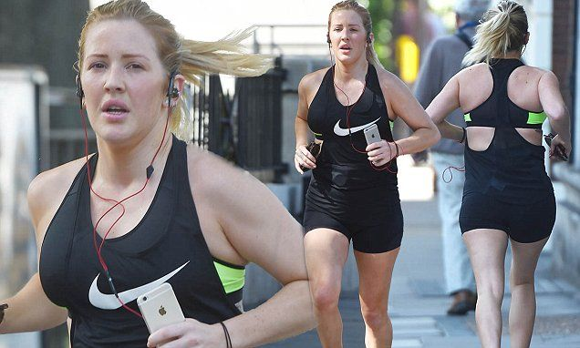 Her skimpy stage outfits prove that she doesn't take her workout regime lightly. And Ellie was showing just how she stays in shape as she set tore around the streets of  London on Tuesday.